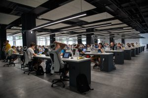 Open-plan office successfully managing hybrid workforces