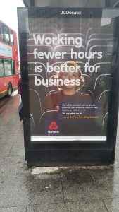 NarWest ad that working fewer hours is better for business.